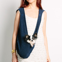 Scarf Sling Small Dog Puppy Pet Carrier with Harness Clip in Nautical Navy Blue