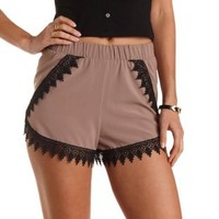 Lace-Trim High-Waisted Tulip Shorts by Charlotte Russe - Tan