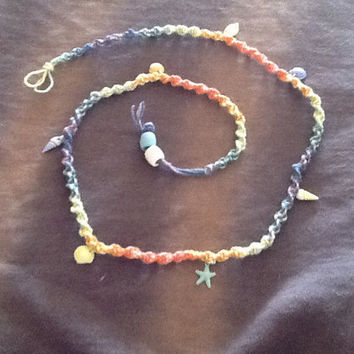 Hemp Belly Beads with Real Shell Charms. Multi color Pastel Twisted Macramé