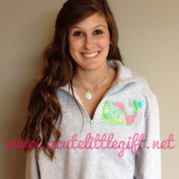 1/4 zip Monogrammed sweatshirt with Lilly Pulitzer fabric Whale appliqué