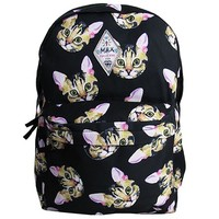Cats head print black backpack cats bag girl school backpack