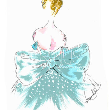 Fashion illustration, Art Print, from original, Watercolor Painting,Cinderella, Fashion Print