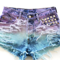 Custom Ombre (Purple and Blue) High Waisted Jean Shorts