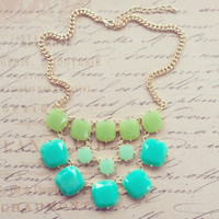 J Crew Inspired , Statement Necklace, Bib Necklace, Bubble Bib, Layers, Chunky, Bridesmaid Gift, Mother's day gift, Green, Sea green
