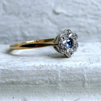 Lovely Antique 9K Yellow Gold/Platinum Sapphire and Diamond Cluster Engagement Ring.