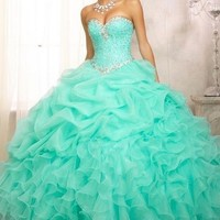 Stock Bead Quinceanera Dress Ball Gown Evening Party Pageant Prom Dress Gown New