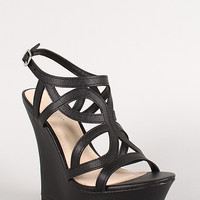 Strappy Cut Out Buckle Open Toe Platform Wedge