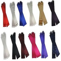 "18"" Long Satin Stretch Gloves Above Elbow Bridal Prom Wedding Formal 12 Colors"
