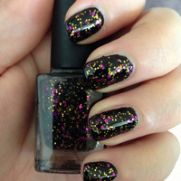 """Nail Polish - """"Vintage Glamour"""" Black Jelly with Purple & Gold glitter Full Size 12ml"""