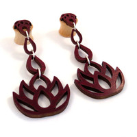"""Dripping Lotus 3-D Dangling Inlay on Maple Wooden Plugs - 0g (8mm) 00g (9mm) (10 mm) 7/16"""" (11mm) 1/2"""" (13mm) 9/16"""" (14mm) 5/8"""" Ear Gauges"""