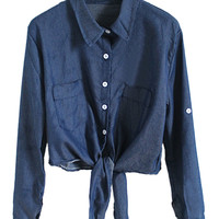 Dark Blue Tie Hem Pocket Crop Denim Shirt - Choies.com