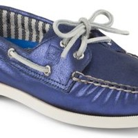 Sperry Top-Sider Authentic Original Metallic 2-Eye Boat Shoe Blue, Size 12M  Women's Shoes