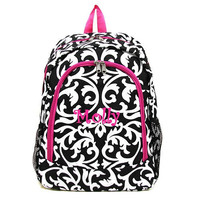 Personalized Backpack girls damask canvas