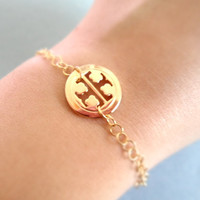 Tory Burch, Round TT, Gold Plated, Bracelet