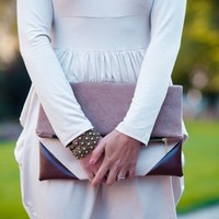 Supermarket: Ivory&brown fold over clutch FREE SHIPPING from Meshka Design
