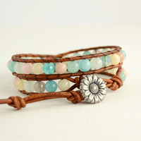 Beaded pastel bracelet. Leather wrap bracelet in pale pink, blue, yellow and green
