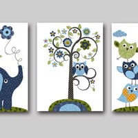 Elephant Nursery Giraffe Nursery Owl Nursery Baby Nursery Decor Baby Boy Nursery Kids wall art Nursery Print set of 8x10 tree green blue
