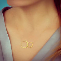 """Double circle necklace, infinity necklace, gold circle necklace, 14k gold filled, ring necklace, bridesmaid necklace, """"Two Circles"""" Necklace"""