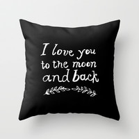 To the Moon and Back Throw Pillow by Rebecca Allen