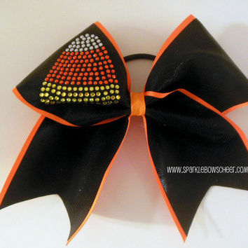 Rhinestone Candy Corn Large Cheer Bow Hair Bow by SparkleBowsCheer