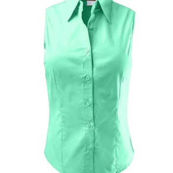 Womens lightweight cotton sleeveless from le3no for Sleeveless cotton button down shirts