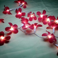 35 Red Orchid Flower String Lights Wedding Party Floral Home Decor