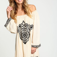 MOONCHILD EMBROIDERED OFF SHOULDER DRESS