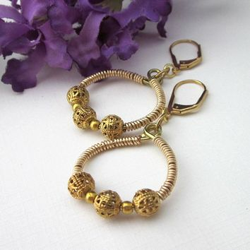 Gold Wire Wrapped Hoop Earrings With Filigree Beads Leverback
