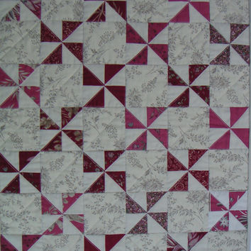 Quilted Wall Hanging, Red and Cream