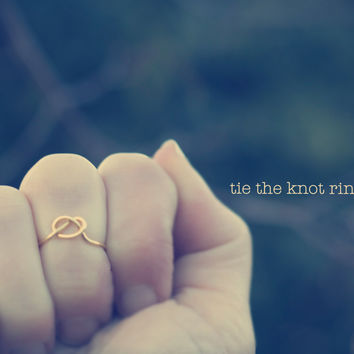 Tie The Knot Ring, Knuckle Ring, Bridesmaid Ring, Gold Love Knot Ring, Infinity Knot Ring