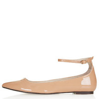 SALOON Ankle Strap Flats - Nude