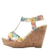 Peach Combo Floral Fabric T-Strap Wedges by Charlotte Russe