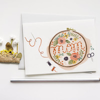 Embroidered Mother's Day Card 1pc by QuillandFox on Etsy