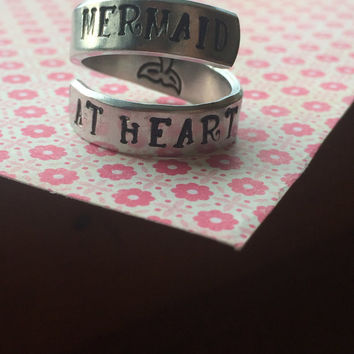mermaid at heart  mermaid tale stamped on the inside  spiral aluminum ring