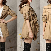 women's OL coat Flounce leisure army green Cotton Long Jacket Hood Coat Cape Coat Hoodie Jacket Spring Jacket lace long Windbreaker S,M,L,XL