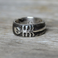 Til Death Us Do Part - Double Skeleton moon and stars ring, Sterling Silver.