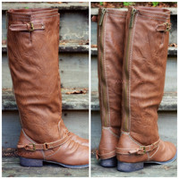 SZ 5.5 Montana Maple Tan Strap Riding Boots