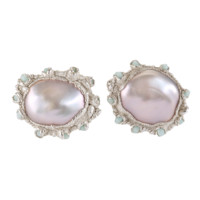 RUTH TOMLINSON PEARL AND ANTIQUE GLASS BEADS STUD EARRINGS WITH SILVER Love Adorned