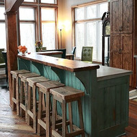 """YOUR Reclaimed Rustic and Recycled Oak Barn Wood 33""""-36"""" inch tall Rectangle Top Bar Stool"""