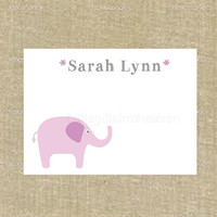 Elephant Notecards- custom stationery, animal notecards, animal stationery, elephant stationery, printed notecards, childrens notecard