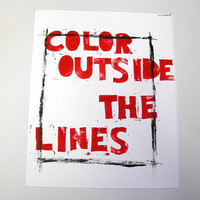 Color outside the lines Lino letterpress print by TheLetterStudio