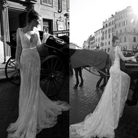 2014 Beautiful Backless Vintage Beaded Mermaid Lace Beach Wedding Dress With V Neck Long Sleeves Court Train
