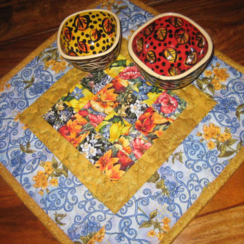 Table Topper, Blue Yellow Red Flower Handmade Quilt Table Decor
