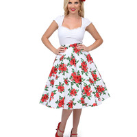 White & Red High Waisted Floral Cannes Swing Skirt