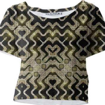 TRIBAL GOLD GLAM Crop Tee created by Webgrrl | Print All Over Me