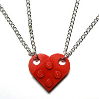DOUBLE chain LEGO Heart Necklace, Lego Heart Friendship Necklaces - Gift Set For Couples, Family, Friends, BFFs - 2 necklaces, 1 Whole Heart