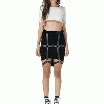Get down to serious business with the Forceful Return Harness Skirt. Featuring soft velvet high and low skirt with bondage straps and snap button closure(adjustable Snap), around upper legs, hidden side zipper closure, stretchy fit. Pair with crop top and