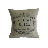 Personalised Vintage Style Mr & Mrs Pillow Cover