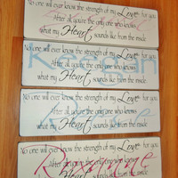 """Baby boy nursery decor """"No one else will ever know the strength of my love for you ...""""  personalized nursery sign"""
