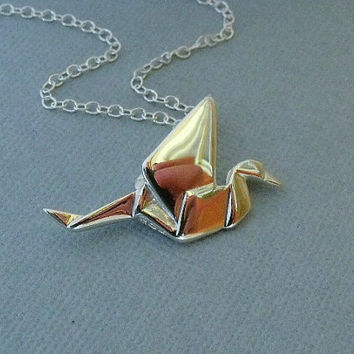 Sterling Silver Origami Crane Charm/Pendant by pinkingedgedesigns